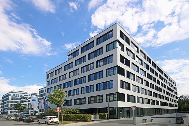 Bürogebäude Compertum, Grenzvermessungen für Grundstücksteilung, Lageplan zum Bauantrag, Absteckung nach Bauordnung, Gebäudeeinmessung, Robert-Bosch-Straße, Darmstadt