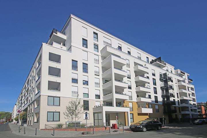 Wohnanlage Patio mit 287 Wohnungen, Lise-Meitner-Strasse, Pfingstbrunnenstraße, Frankfurt/M., Lagepläne, Absteckungen, Einmessungen, Aufmaß Wohnflächen für alle Wohnungen