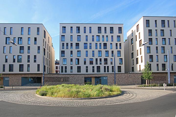 Mehrfamilienhäuser, Berliner Straße, Offenbach am Main, Lageplan zum Bauantrag, Absteckung nach Bauordnung, Amtliche Gebäudeeinmessung